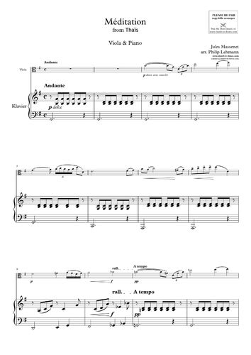 Massenet, J. - Meditation from 'Thais' - vers. in G-maj. (Viola)